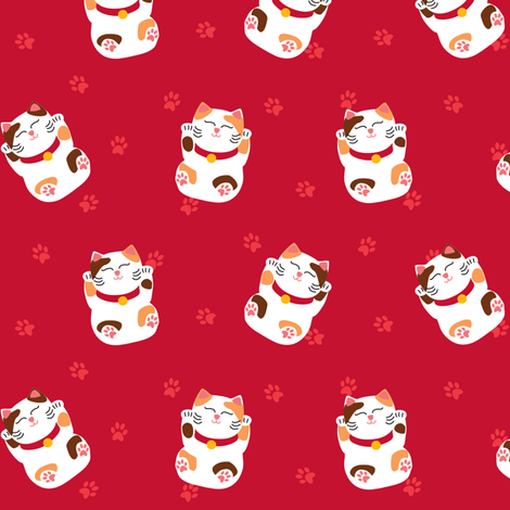 Lazy Maneki Neko? fabric by mariao on Spoonflower - custom fabric