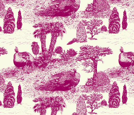 Peacock Toile de Jouy sateen purple fabric by teja_jamilla on Spoonflower - custom fabric