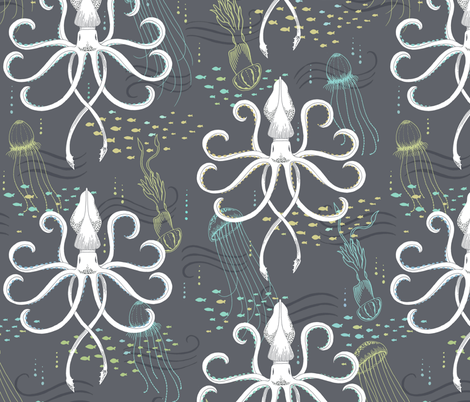 LARGE Ghostly Squid Damask fabric by pattysloniger on Spoonflower - custom fabric