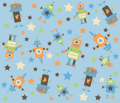 Robot Rascals fabric by ajsbowtique on Spoonflower - custom fabric