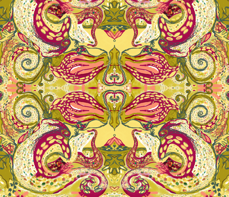 The Myth of Octopus Woman fabric by kantakaa on Spoonflower - custom fabric