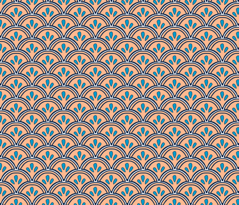 Fan peach fabric by madeleine13 on Spoonflower - custom fabric