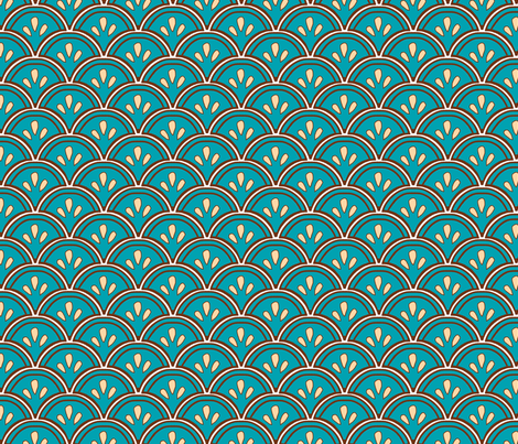 Fan teal fabric by madeleine13 on Spoonflower - custom fabric