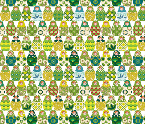 poupée_russe_graphic_vert fabric by nadja_petremand on Spoonflower - custom fabric