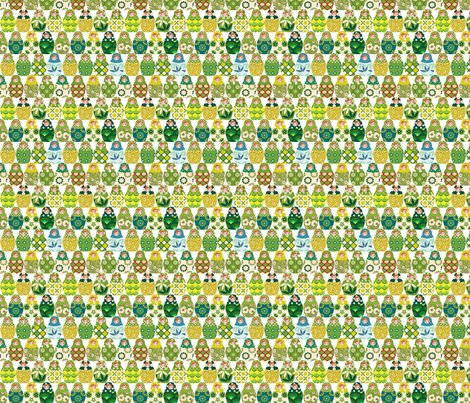 poupée_russe_graphic_vert_S fabric by nadja_petremand on Spoonflower - custom fabric