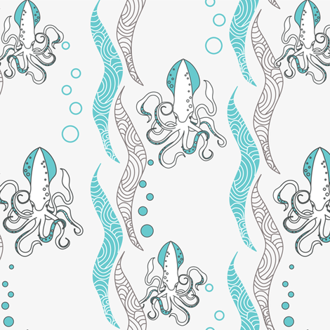 Squids -Grey fabric by newmom on Spoonflower - custom fabric