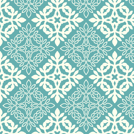 BRIGHT TURQUOISE mini-papercut3-solid-outlines fabric by mina on Spoonflower - custom fabric
