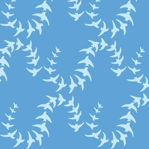 Flying Swallows-Blue on Blue