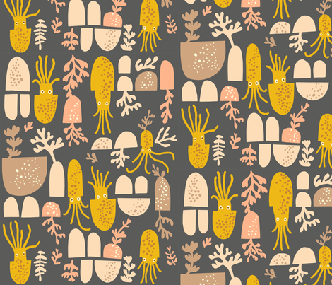 squid in marigold fabric by endemic on Spoonflower - custom fabric
