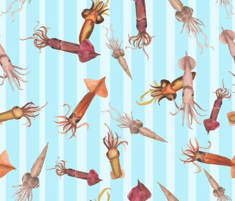 squids fabric by cinqchats on Spoonflower - custom fabric