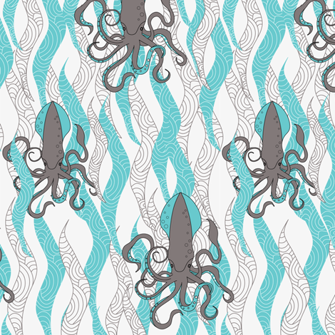 Squid, squid and seaweed fabric by newmomdesigns on Spoonflower - custom fabric