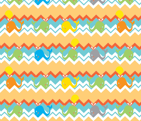 chevron whale (boy) ©2012 Jill Bull fabric by fabricfarmer_by_jill_bull on Spoonflower - custom fabric