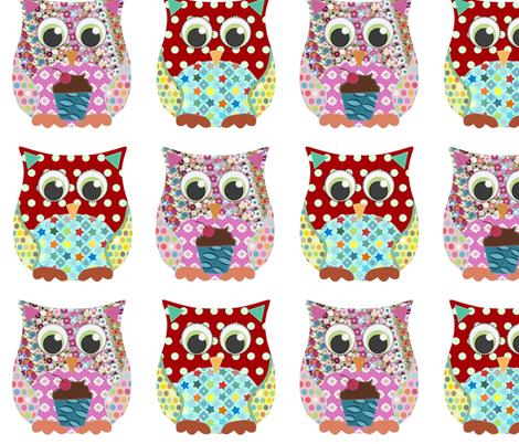 girl and boy scrummy owls fabric by scrummy on Spoonflower - custom fabric
