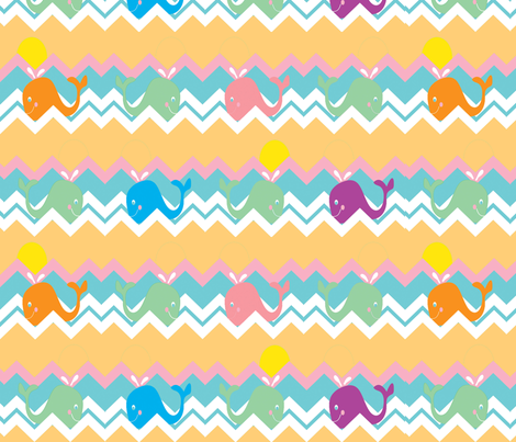 chevron whale ©2012 Jill Bull fabric by fabricfarmer_by_jill_bull on Spoonflower - custom fabric