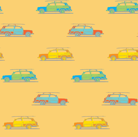 surf woody wagon sunset ©2012 Jill Bull fabric by fabricfarmer_by_jill_bull on Spoonflower - custom fabric