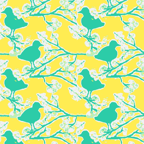 blue bird blossom ©Jill Bull 2012 (graphic) fabric by fabricfarmer_by_jill_bull on Spoonflower - custom fabric