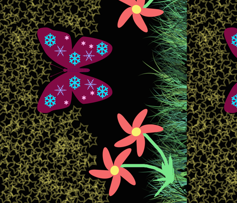 Snow-Butterfly at Starry Flowers Field (in black colorway) fabric by snowsparklegems on Spoonflower - custom fabric