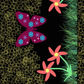 Snow-Butterfly at Starry Flowers Field (in black colorway)