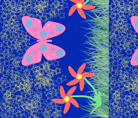 Snow-Butterfly at Starry Flowers Field (in blue colorway) fabric by snowsparklegems on Spoonflower - custom fabric