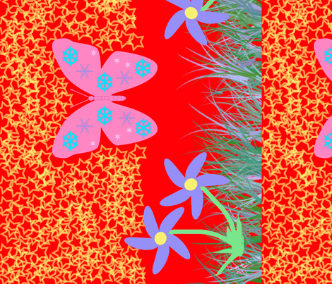 Snow-Butterfly at Starry Flowers Field (in red colorway) fabric by snowsparklegems on Spoonflower - custom fabric