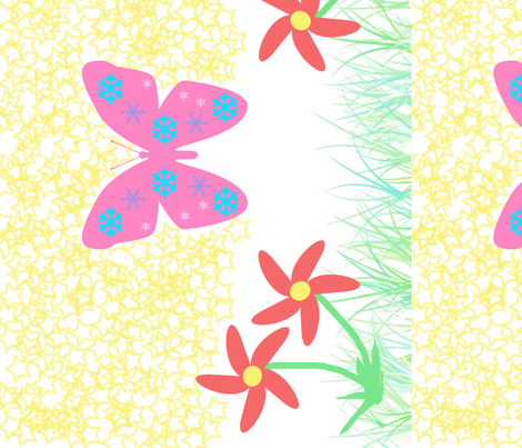 Snow-Butterfly at Starry Flowers Field (in white colorway) fabric by snowsparklegems on Spoonflower - custom fabric