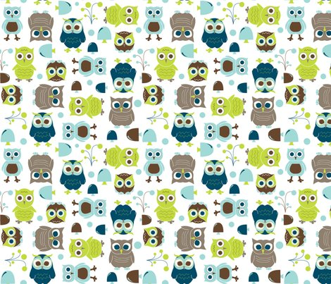 Owls, in Blue - In The Land of Boys fabric - aimeemarie ...
