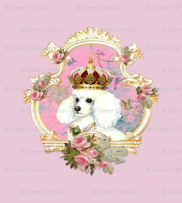 White Poodle Princess Pillow Panel