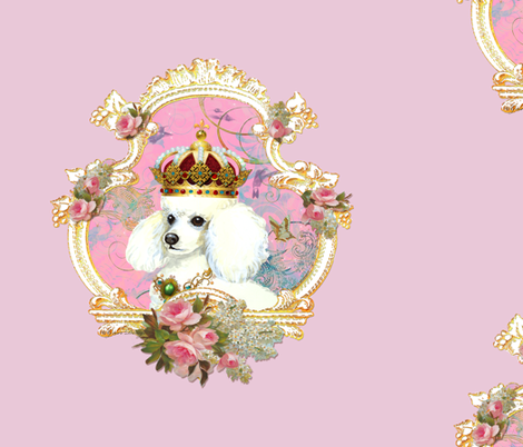 White Poodle Princess Pillow Panel fabric by greerdesign on Spoonflower - custom fabric