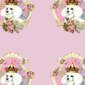 White Poodle Princess Pillow Panel
