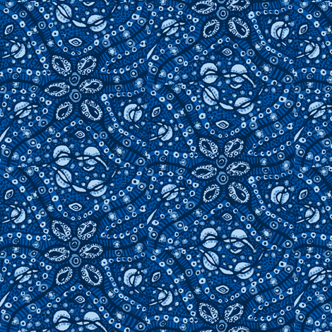 Busy cells (blue) fabric by tallulah11 on Spoonflower - custom fabric