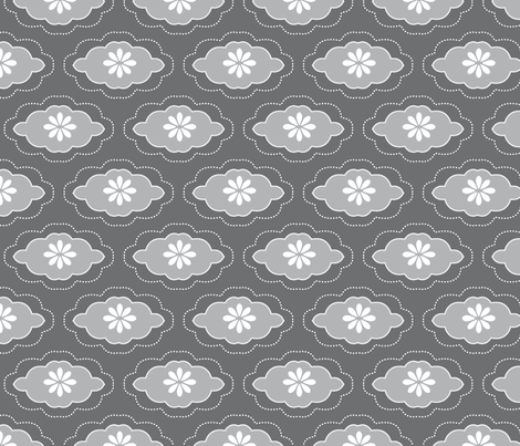 flowercloud grey fabric by myracle on Spoonflower - custom fabric