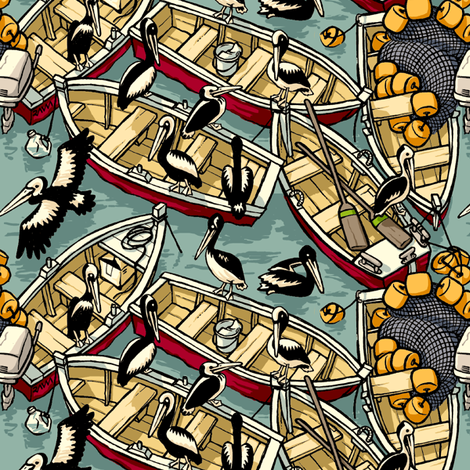 Boats & Pelicans fabric by raul on Spoonflower - custom fabric