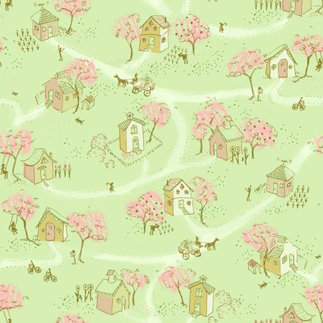 Springtime Map Of Our Little Neighborhood fabric by cathyheckstudio on Spoonflower - custom fabric