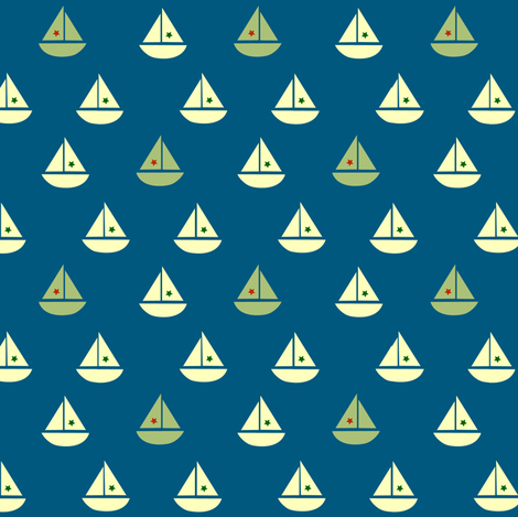 one green boat fabric by krihem on Spoonflower - custom fabric
