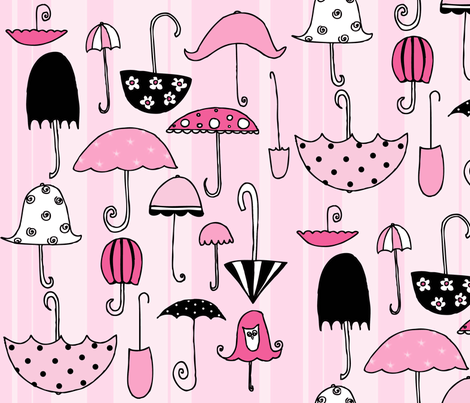 pink umbrellas fabric by rebekah_sellers on Spoonflower - custom fabric