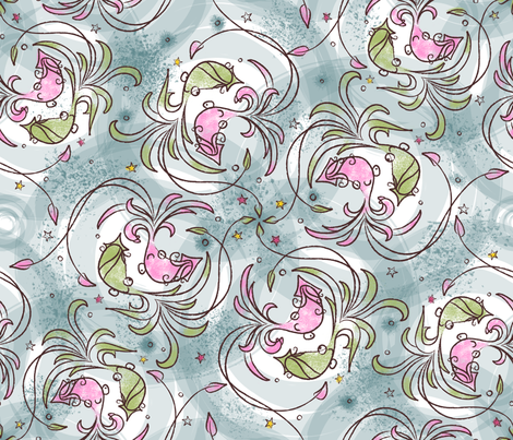 squid-o-ramba in pink - © Lucinda Wei fabric by simboko on Spoonflower - custom fabric
