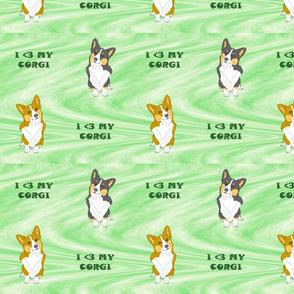 I <3 my Corgi- green