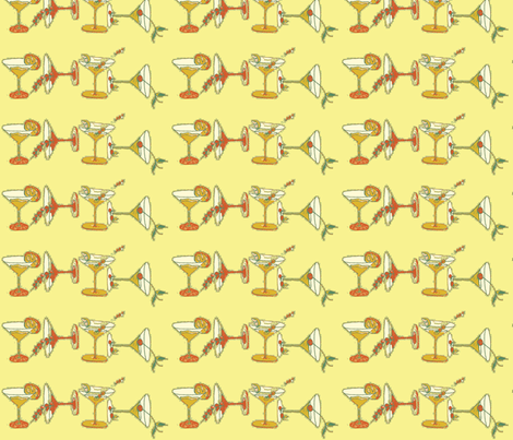 cocktailfabric Yelow fabric by snazzyfrogs on Spoonflower - custom fabric