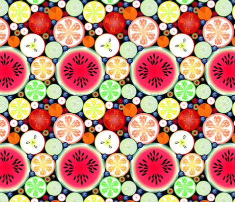©2011 Fresh Fruits and Vegetables fabric by glimmericks on Spoonflower - custom fabric