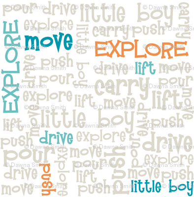 Little Boy Explorer Words - Subway Art