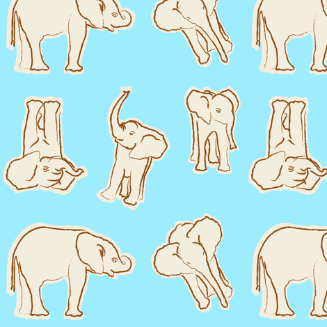 baby_elephant_creme_n_coffee fabric by mackerilla on Spoonflower - custom fabric