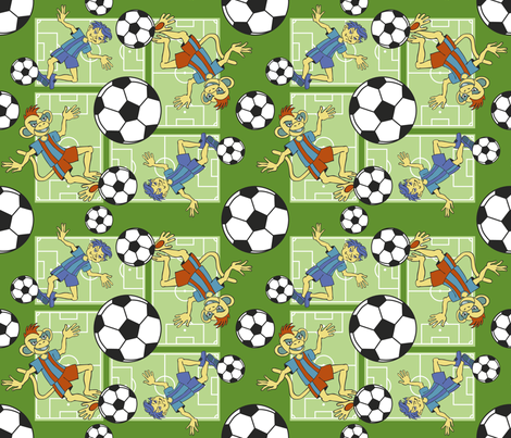 Soccer Monkey fabric by crowcreative on Spoonflower - custom fabric