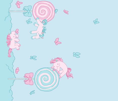 Lovely Horse Derpy-chan Seafoam Candy fabric by gabi-hime on Spoonflower - custom fabric