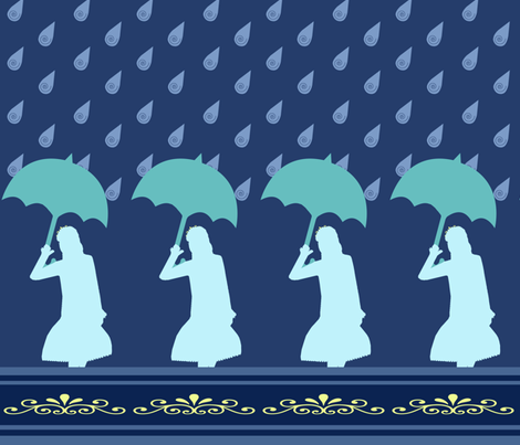 Princess Silhouette in Rain fabric by snowsparklegems on Spoonflower - custom fabric