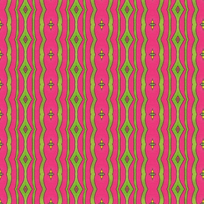 Peacock Stripe Pink/Green