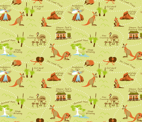 Outback_map fabric by cjldesigns on Spoonflower - custom fabric