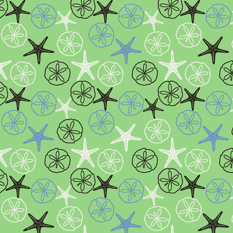 Sea Gifts - Green fabric by inscribed_here on Spoonflower - custom fabric