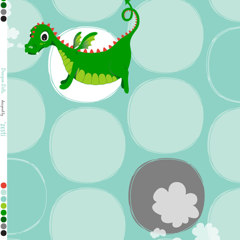 Dragon Dots Blue fabric by zesti on Spoonflower - custom fabric