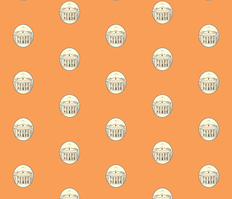 UVA Rotunda-Orange CKTL fabric by snazzyfrogs on Spoonflower - custom fabric
