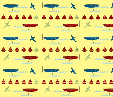 row boat - yellow fabric by krihem on Spoonflower - custom fabric